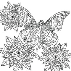 A fairy with butterfly wings is among flowers. Coloring book page illustration. Fairy tale line art for print, decoration, books.