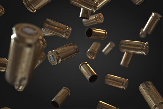 Photorealistic 3D illustration of Flying bullet shells on a black background.