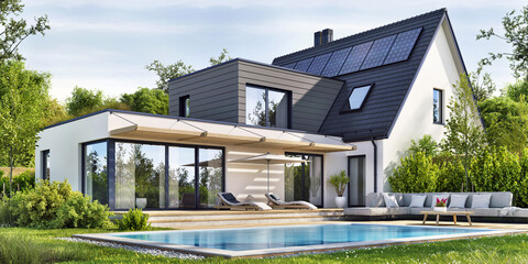 Beautiful modern house with solar panels and a swimming pool