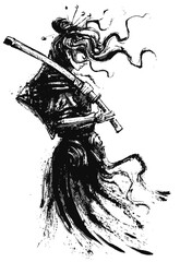 Photo sur Toile Art Studio A beautiful samurai girl in Japanese armor with a katana on her shoulder, standing in profile, drawn in ink, her hair flying in the wind. 2D illustration.