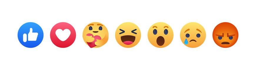 Facebook emoji. Facebook button set of 7 Emoji Reactions. We are together this is new smile. Vinnitsa, Ukraine - June 1, 2020