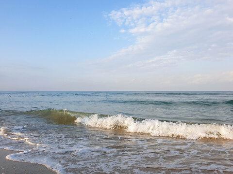 A warm summer morning on the coast of the Black sea. Anapa, Krasnodar region.