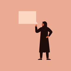 Arabian woman raised her hand clenching it into a fist and says something with speech bubble. Concept of protest and female empowerment movement. Vector illustration