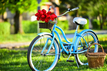 Vintage fancy bike blooming garden background. Rent bike to explore city. Nature cycling tour. Retro bicycle with picnic basket. Bike rental shops primarily serve typically travellers and tourists