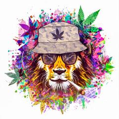 rastafari lion illustration with cannabis