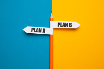 Pencil - direction indicator - choice of plan a or plan b. Business strategy, failure analysis and not give up. - fototapety na wymiar