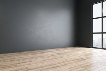 Minimalistic gallery room with blank gray wall Fotomurales