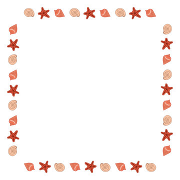 Square frame with creative sea shells on white background. Vector image.