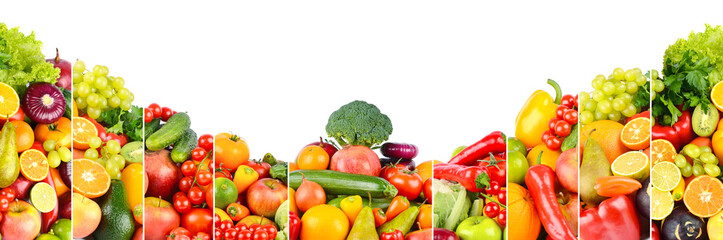Wall Mural - Panoramic photo of different fruits and vegetables isolated on white