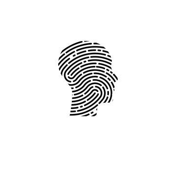 Logo security. Profile of man with fingerprint