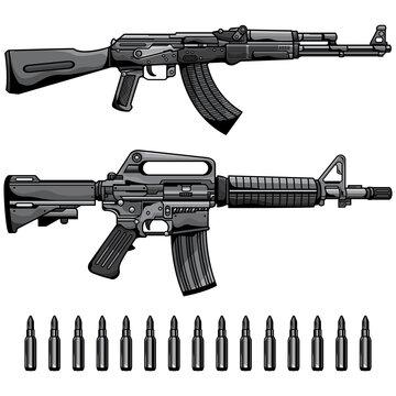 firearms set automatic machine gun