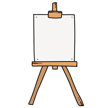 Vintage easel doodle, great design for any purposes. Outline vector illustration.