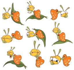 Tuinposter Babykamer Vector Illustration of a Cute Cartoon Character Snail for you Design and Computer Game