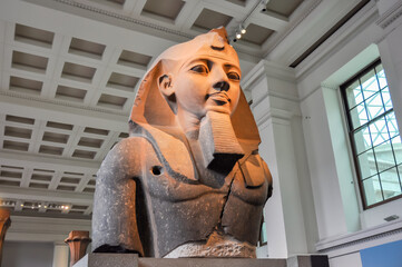 Bust of Ramses II (Pharaoh of Egypt) in British Museum, London, UK