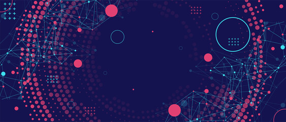 Wall Mural - Halftone science background with connecting dots and lines. Digital data visualization.