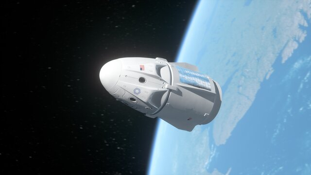 Cargo spaceship on low earth orbit. Usa private space company concept