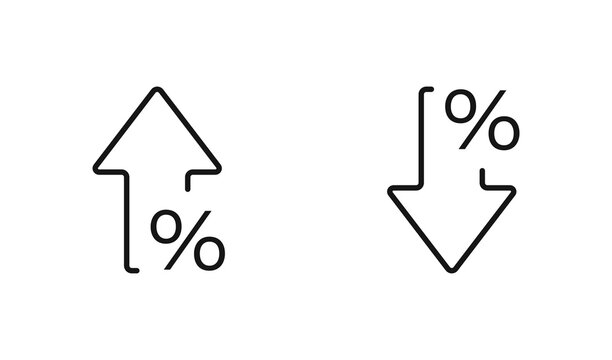 Percent arrow isolated icon in line style. Vector business concept