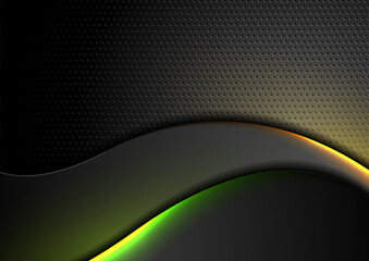 Fotobehang - Futuristic technology abstract perforated background with neon glowing wavy lines. Vector design