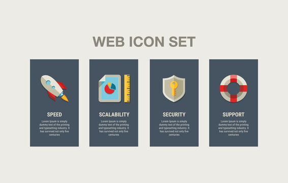 Web icon set. 4 option UI design. Speed, scalability, security, support.  Can be used for websites of hosting providers and other web services.