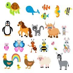 Cute animals set illustration,  vector collection: farm animals,sea animals wild animals,