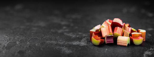 Freshly chopped Rhubarb (close up; selective focus)