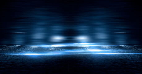 Wall Mural - Dark street, wet asphalt, reflections of rays in the water. Abstract dark blue background, smoke, smog. Empty dark scene, neon light, spotlights. Concrete floor
