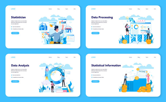 Statistician and statistic web banner or landing page set. Specialist