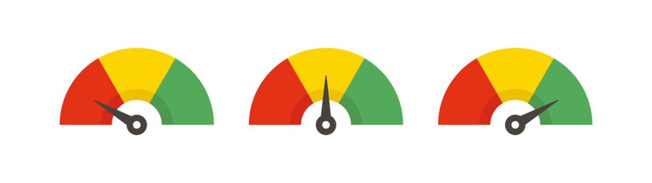 Set of color speedometer. Flat icon speedo. Speedometer symbol web icon. Vector
