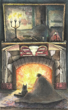 Evening by the fireplace with a dog in the old house, watercolor