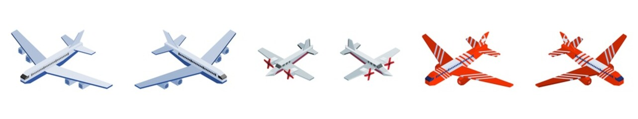 airplanes small selection. isometric detailed big