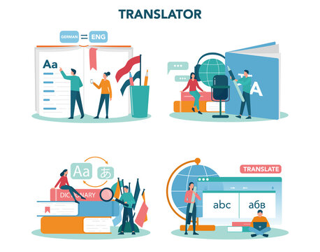 Translator and translation service concept set. Polyglot translating