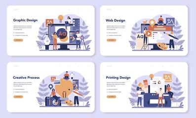 Design web banner or landing page set. Graphic, web, printing design.