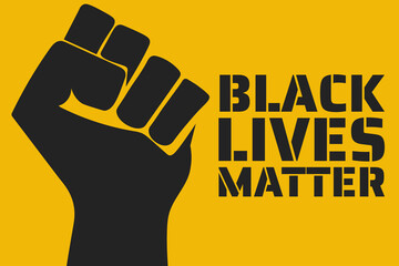 Black Lives Matter concept. Template for background, banner, poster with text inscription. Vector EPS10 illustration.