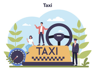 Taxi service concept. Yellow taxi car. Automobile cab with driver