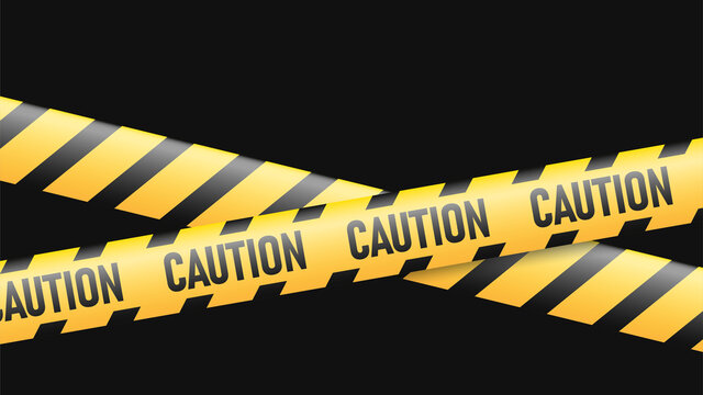 Caution tape isolated on black background. Warning ribbon. EPS 10 vector.