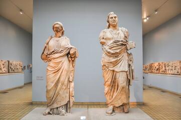 Ancient statues from Halikarnassos Mausoleum in British museum, London, UK