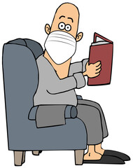 Startled man in a chair wearing a face mask
