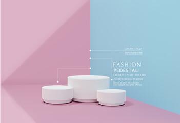 Fototapeta Vector pink-blue minimal scene , podiumfor cosmetic product presentation. Abstract background with geometric podium platform in pastel colors. Template for design, presentation, advertisement. obraz