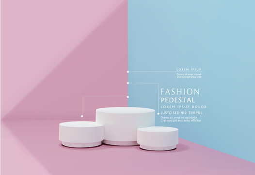Vector pink-blue minimal scene , podiumfor cosmetic product presentation. Abstract background with geometric podium platform in pastel colors. Template for design, presentation, advertisement.