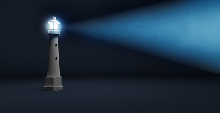 light beam of a lighthouse isolated on a blue background with copy space, safety and guidance concept, 3d illustration