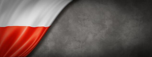 Polish flag on concrete wall banner