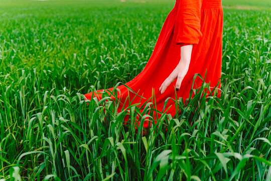 Crop view of woman wearing red dress standing in a field