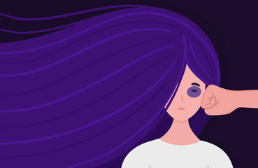 Stop domestic violence. Woman is punched in face by aggressor. Girl with purple hair. Concept is for crisis help center or for advocacy for women's rights. Poster, banner, brochure. Vector, eps10