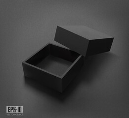 Vector 3d illustration. Packaging. Black open box with a lid, on a black background