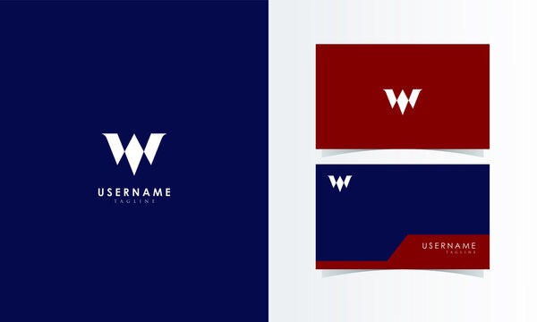 W Monogram Logo Mark with business card template design for branding identity