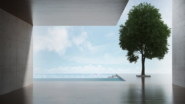The interior design of modern outdoor living room and concrete wall background and seascape view