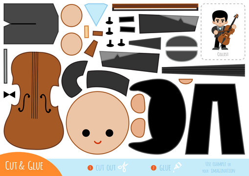 Education paper game for children, Musician and cello