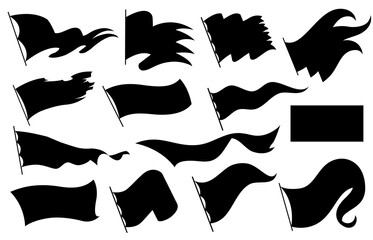 Black flags silhouettes icons signs isolated on white background for infographic. Vector illustration