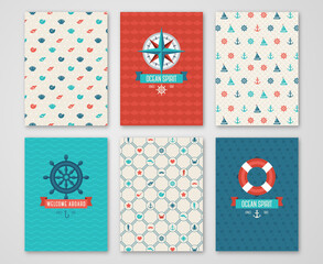 Summer Banners Set Concept. Pattern and Labels with Nautical Symbols. Vector illustration. Marine Symbols. Save the Date Cards Design in Cute Marine Style. Compass, Wheel.