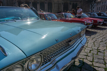 Front part of a Ford Galaxy 500 Cabrio with turquoise bonnet and chrome grille in Braunschweig, Germany, April 7., 2019